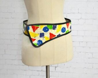 Vintage Mille Fiori Hand Painted Leather Belt // Designer Hand Painted Geometric Belt New York