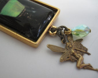 Absinthe green fairy antique brass chain necklace with Swarovski crystal