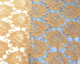 Sparkly Gold Fabric, Gold Holiday Fabric, Gold Wedding Table Cloth, Christmas Decoration, Golden Roses