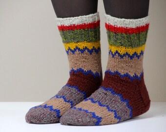 Warm hand knit wool socks, size medium US woman's size 7, EU size 37.5