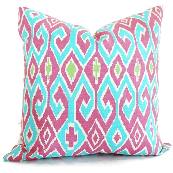 Queen Throw Pillows : Turquoise Magenta Pillow Cover Quadrille China Seas