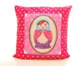 "Cushion cover ""Matryoshka"", folklore motif russian doll, original home decor,  Textile art Decor spirit Hippie, retro chic, from Paris"