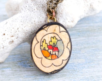 Painted Cottages Necklace - Vintage Seed Pendant on Brass Chain - Quirky Jewelry