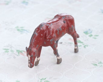 Lead Brown Horse Toy - Grazing - Made in England - Antique Iron Cast Farm Figure