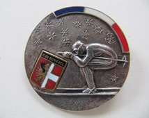 Vintage French ski brooch pin, circa 1920/30's, Courchevel France the French Alps, jewelry component, competition award medal brooch pin
