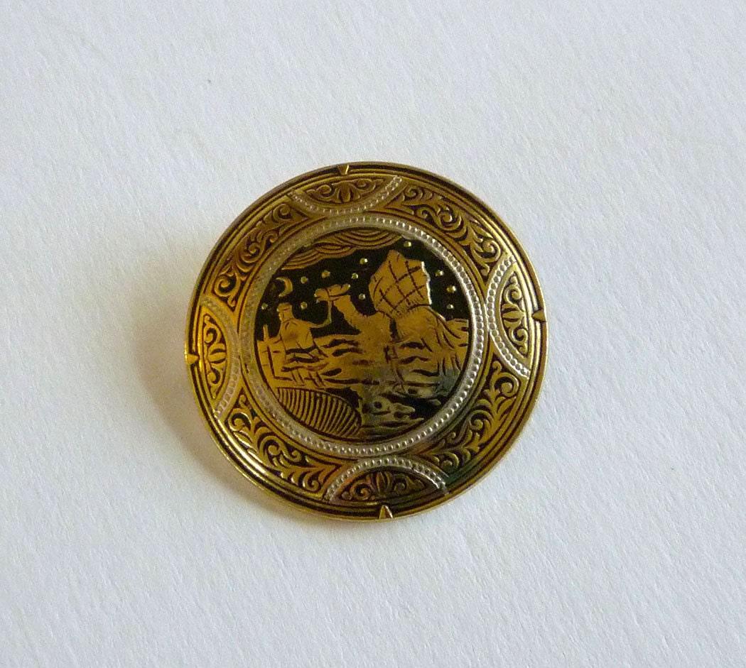 Vintage Damascene Brooch Arabian Night Damascene Pin Brooch | 1050 x 941 jpeg 187kB