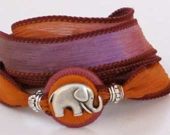 Elephant, Whirly Wrap, Silk Ribbon, ancient powerful elephant, silk bracelet, wrap bracelet, eggplant tangerine, secure magnet