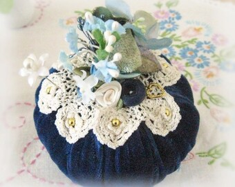 Pincushion Needlecraft BLUE Velvet/Velveteen Handmade CharlotteStyle Sewing Soft Sculpture