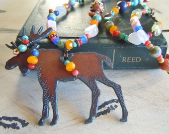 Rustic Southwestern Style Moose Necklace Cowgirl Gemstones