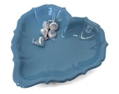 Heart Candy dish in glossy french blue Vintage Silver plate Re-cycled by BMC Vintage Design Studio in fired on enamel