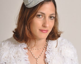 Light blue cocktail hat for women, wedding hat with Dupioni silk flowers, small cocktail hat, blue fascinator
