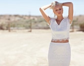"Ivory Lace Bohemian Bridal Gown, Maxi Dress, Crop Top, Cap Sleeve Wedding Dress - ""Caterina"""