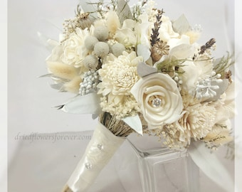 Dried & Preserved Flower Wedding Bouquet -  alternative bridal bouquets - gem cream white sola gray lavender brunia - SILVER ICE COLLECTION