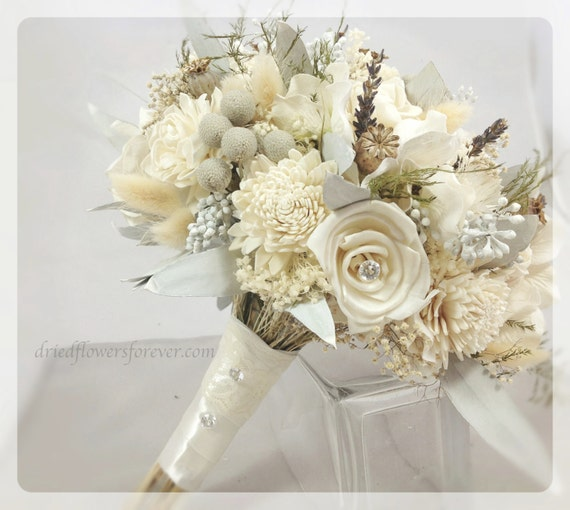 dried preserved flower wedding bouquet alternative bridal