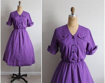 Vintage 80s Purple Grape dress. Full Skirt. 50s Day Cotton Dress. Size M/L