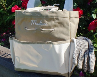 Embroidered Garden Tool Tote Bag, personalized, for her, gardener, grandma gift, stitched, canvas, canvas bag, mother's day -gfyE436051