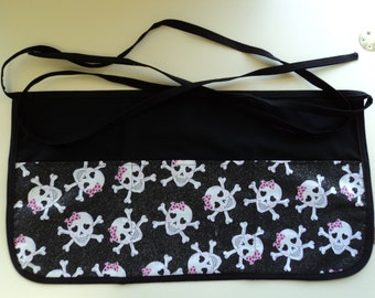 Server Half Apron- Glitter Skulls with Pink Bows