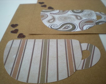 Handmade Cards Set of 2 Latte Love Coffee Hearts Earth Tones Kraft Brown Flat Notecards Collage Cut Paper