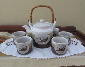 Otagiri Tea Set - Pheasants - Tea cups and Tea pot by Otagari Japan