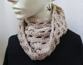Infinity Scarf, Cowl, Long, Circle Scarf, Beige with Gold Crocheted 22801