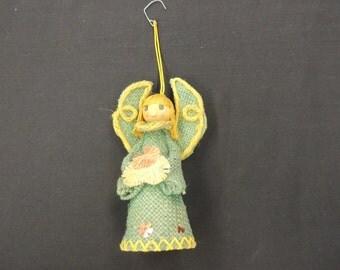 Vintage Blue Burlap Angel Ornament Figurine