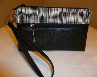 Black and White Wristlet/Wallet