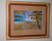 "16x24"" Framed Print ""Footprints Caribbean"" in 24x30 Handcrafted Multiwood Frame"