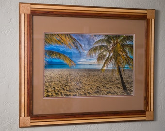 16x24 framed print footprints caribbean in 24x30 handcrafted multiwood frame