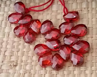 Garnet Red Briolettes Faceted CZ Cubic Zirconia Crystal Beads- Tiny 7x5mm-2 beads
