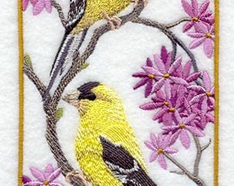 Goldfinch Panel Embroidered Flour Sack Hand/Dish Towel