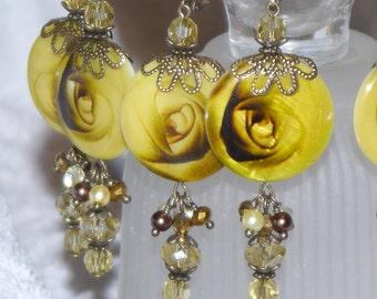 Floral Shell Earrings - Yellow Rose Dangle Earrings