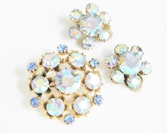 SALE Vintage Blue Rhinestone Brooch & Earrings 50s