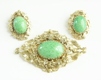 Large Vintage Whiting Davis Green Peking Glass Brooch Earrings 50s