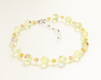 Vintage Yellow Crystal Beaded Necklace