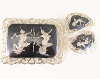 Vintage Siam Sterling Silver Nielloware Brooch Earrings Jewelry