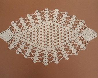 Ecru crochet doily, Oval crochet doily, Lace placemat
