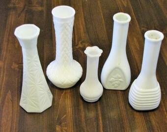 Vintage Milk Glass Vases - Set of 5