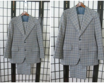 Vintage Mod Suit 1960s 1970s Jacket Pants Plaid Blue Gray Tan 38 39 40 Chest S Mens Sportcoat Menswear Cricketeer Blazer Sport Coat