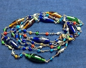 "Free Ship 45"" millefiori glass colorful bead wire wrapped necklace"