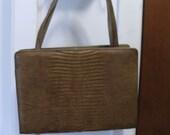 Vintage  Designer Palizzio  Faux Lizard Brown Handbag