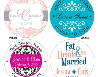 108 - 2.5 inch Custom Glossy Waterproof Wedding Stickers - hundreds of designs to choose from - change designs to any color or wording