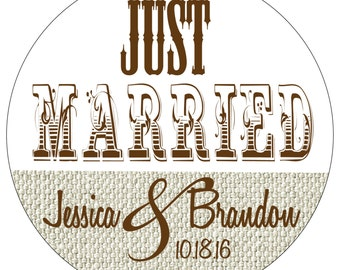 108 - 2.5 inch Glossy Personalized Burlap Wedding Stickers - hundreds of designs to choose from WR-187