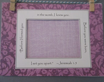 Ultrasound Mat with Bible Verse and Optional Frame - Purple Lavender - Damask - Baby Girl 5x7