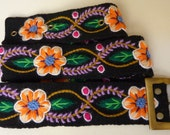 "Handmade Embroidered women's belt size 30"" to 39"" in black, organic"