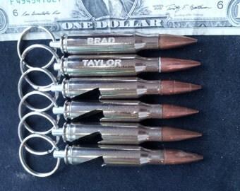3 308 bullet bottle opener engraved keychains groomsmen. Black Bedroom Furniture Sets. Home Design Ideas