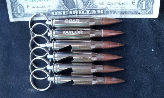 5 308 nickel bullet bottle opener engraved keychains. Black Bedroom Furniture Sets. Home Design Ideas