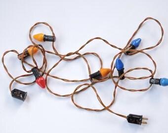 Vintage Clem Co. Christmas Light Strand - Vintage 1940's Working Lights - Cloth Cord