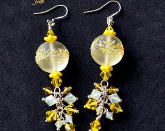 Yellow Earrings, Dangle Earrings,Lampwork Beads,Colorful Earrings,Summer Earrings - JOMTE