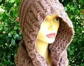 Women's crochet hat hood - wool crochet snood - mink crocodile hat - hand crochet cowl - Australian wool - Bonnets n Beads -  wool hats