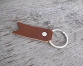 Simple Leather Key Ring - Caramel Brown